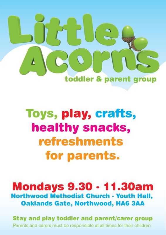 Little Acorns play group at northwood methodist church, Mondays at 9.30am