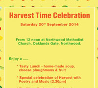 Harvest Time Celebration Saturday 20th September 2014