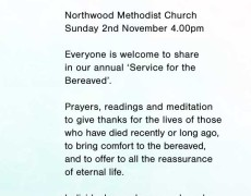 In Loving Memory – Sunday 2nd November
