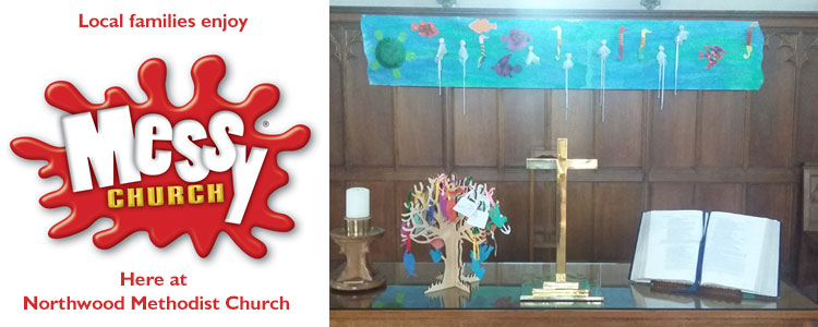 Messy church artwork on display at northwood methodist church