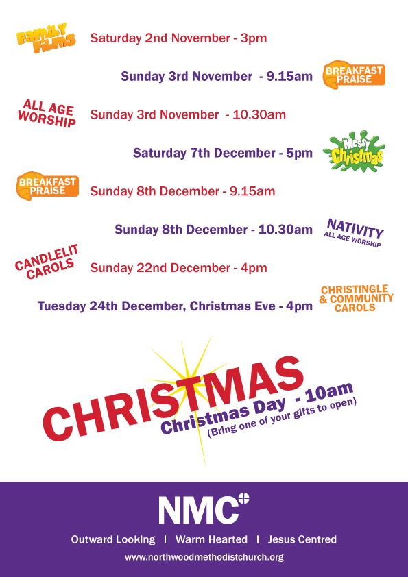 Calendar of Christmas events at Northwood Methodist Church.